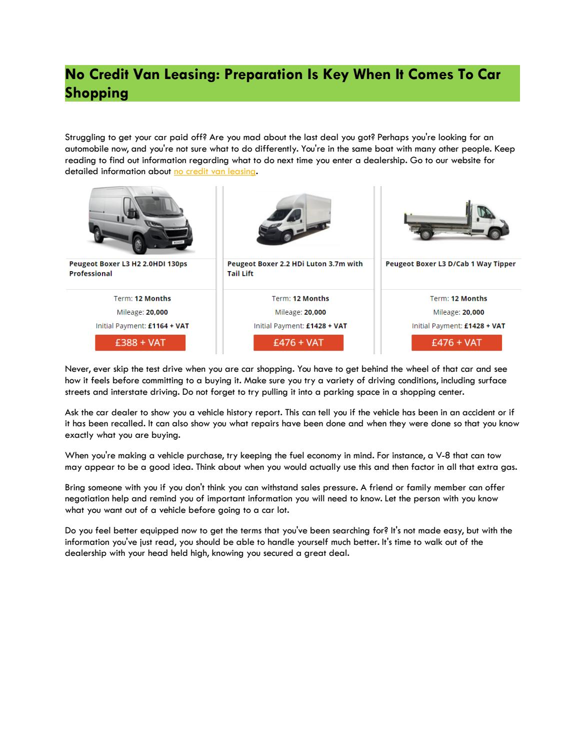 Get A Car With No Credit >> No Credit Van Leasing By Van Bad Credit Issuu