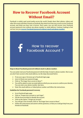 How To Recover Facebook Account Without Email By Sophia Singh Issuu