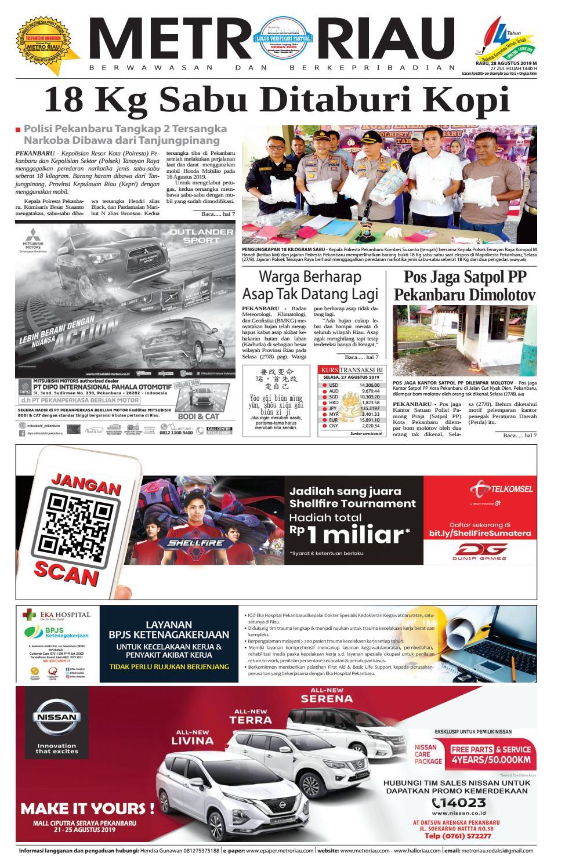 METRO RIAU EDISI 28 AGUSTUS 2019 By Harian Pagi Metro Riau