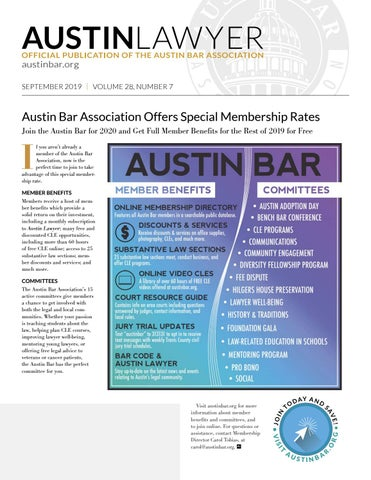 Page 1 of Austin Bar Association Offers Special Membership Rates