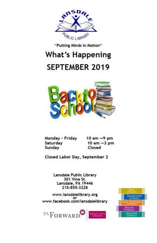 Page 1 of What's Happening @ Lansdale Library September 2019