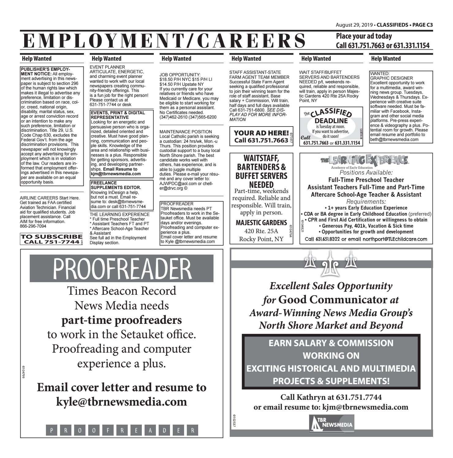 Employment/Careers - August 29, 2019 by TBR News Media - issuu