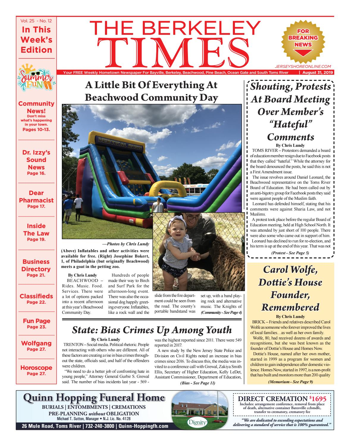 2019 08 31 The Berkeley Times By Micromedia Publications Jersey