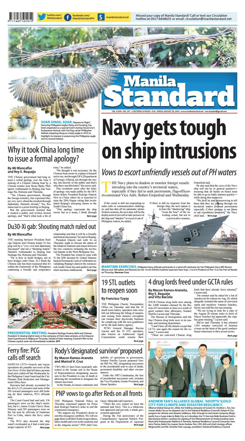 Manila Standard - 2019 August 30 - Friday by Manila Standard