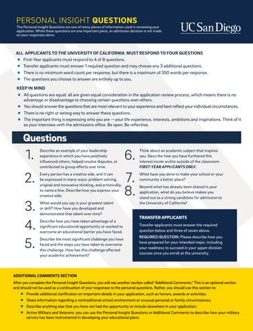 personal insight questions by uc san diego admissions issuu personal insight questions by uc san