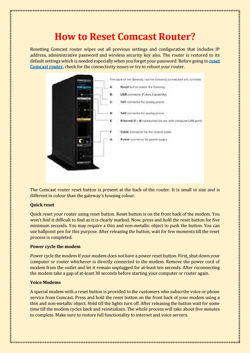 How To Reset Comcast Router By Anna Here Issuu