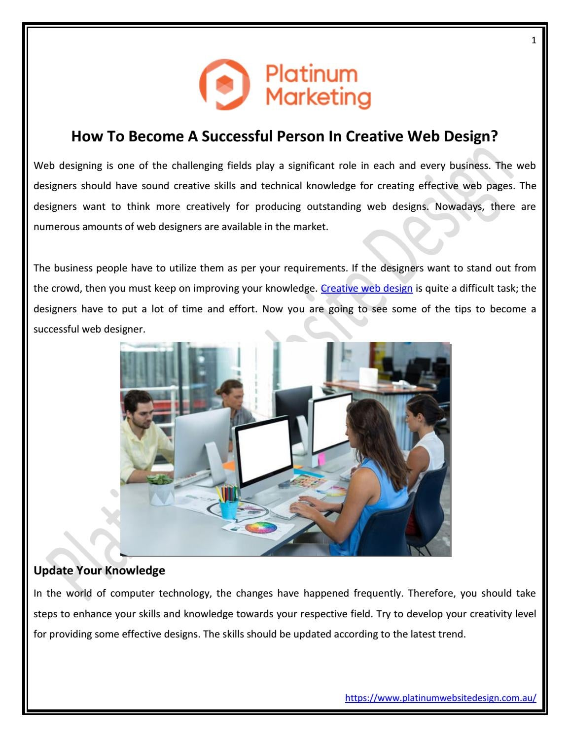 How To Become A Successful Person In Creative Web Design By Platinum Website Design Issuu