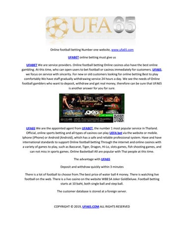 Online Football Betting Number One Website Www Ufa65 Com By