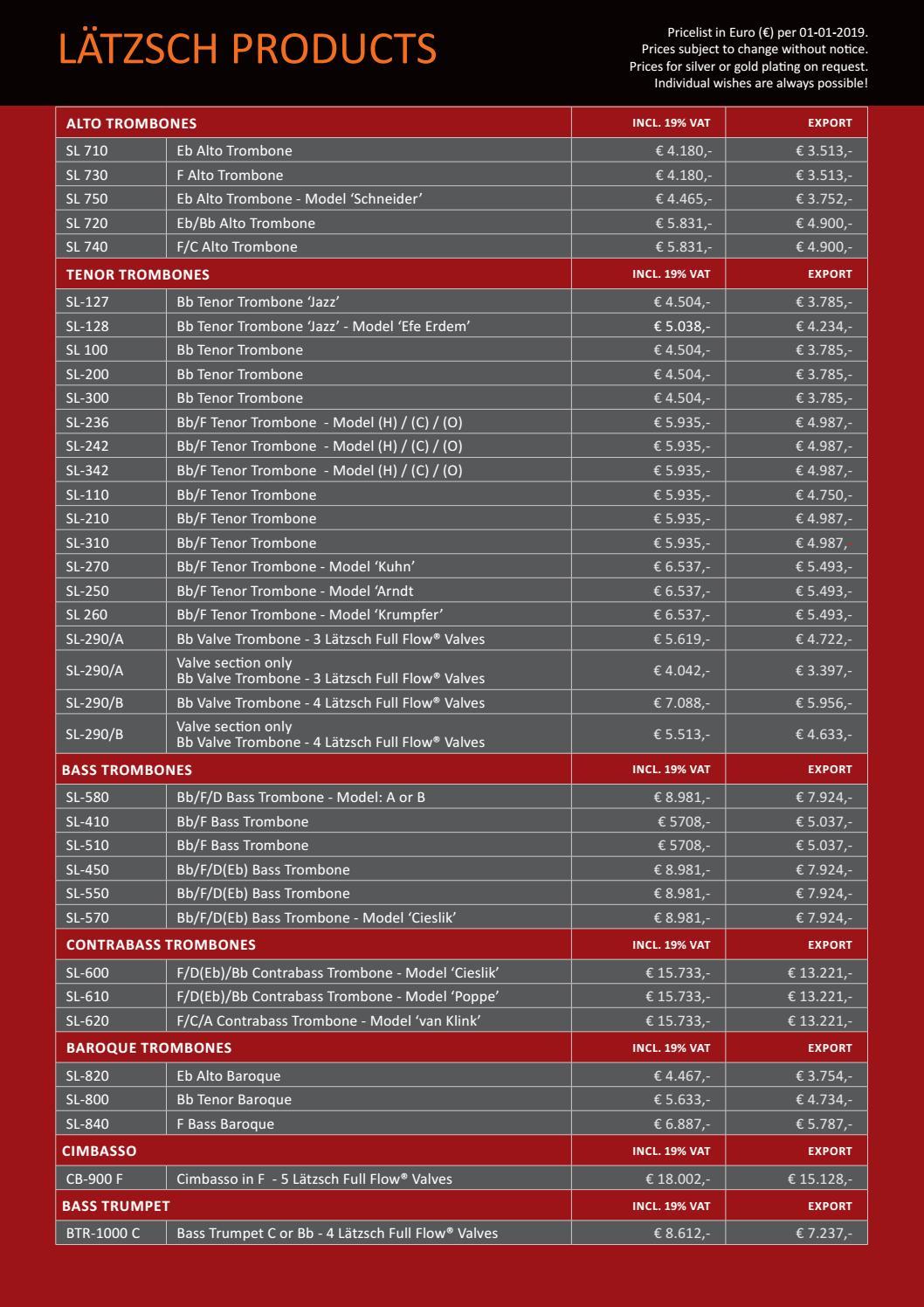 Pricelist 2017 Lätzsch Pro Trombone Catalog by Lätzsch