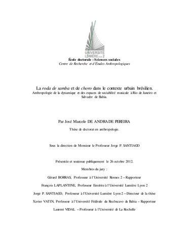 La Roda De Samba Et De Choro Dans Le Contexte Urbain Bresilien Anthropologie De La Dynamique Et Des By Portal Academia Do Samba Issuu