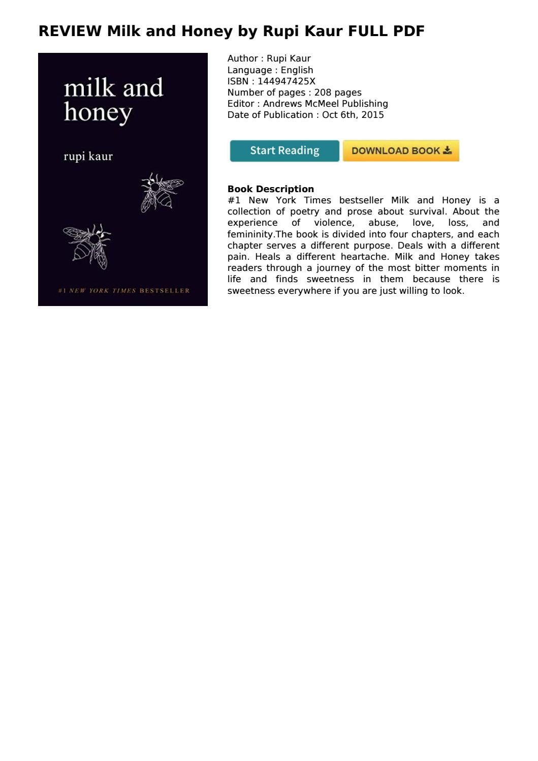 Honey review and milk book Milk and