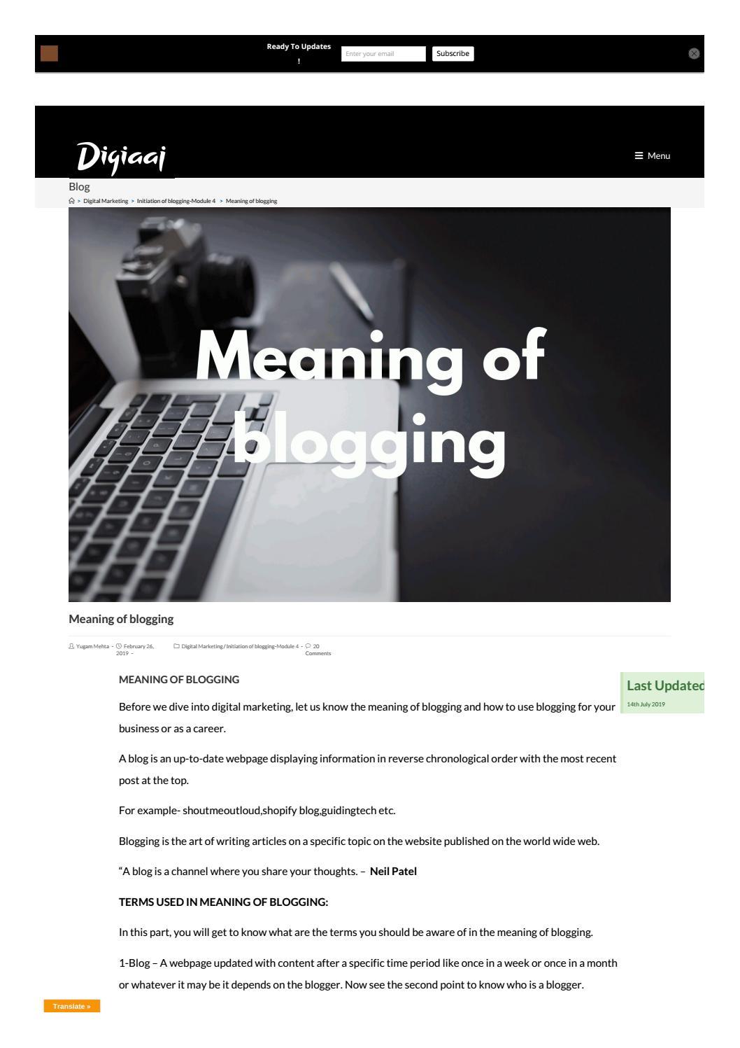Meaning of blogging – Digiaaj by yugammehta20   issuu
