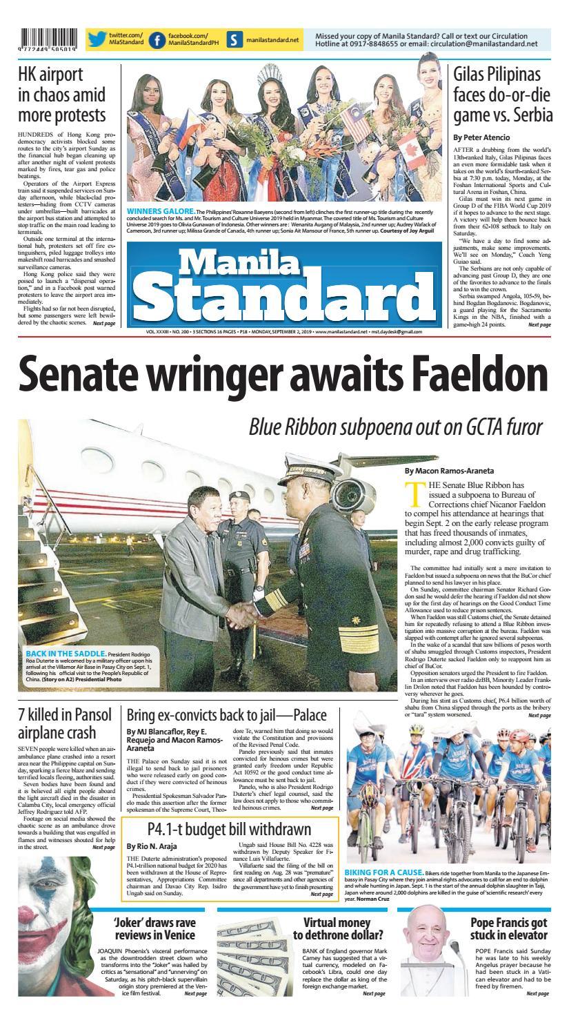 Manila Standard - 2019 September 2 - Monday by Manila