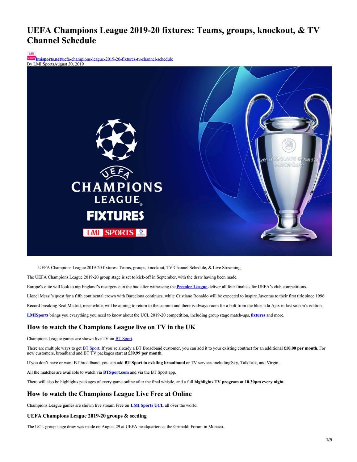 Uefa Champions League 2019 20 Fixtures Teams Groups Live