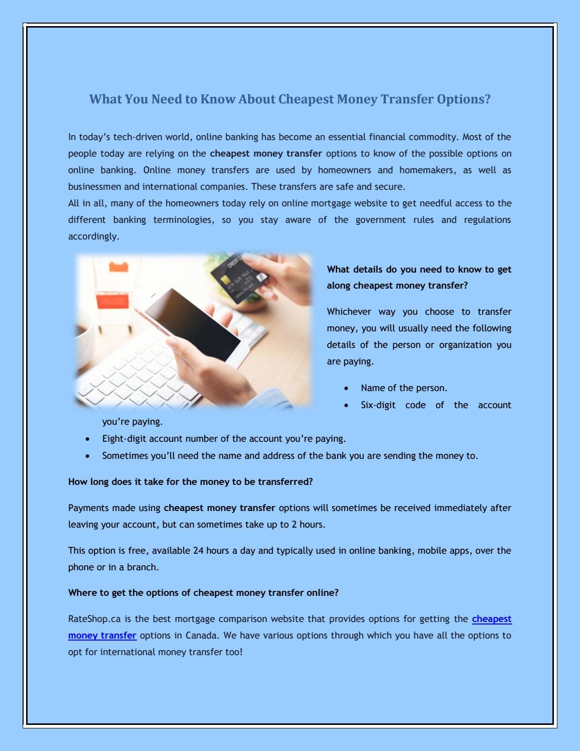 About Est Money Transfer Options