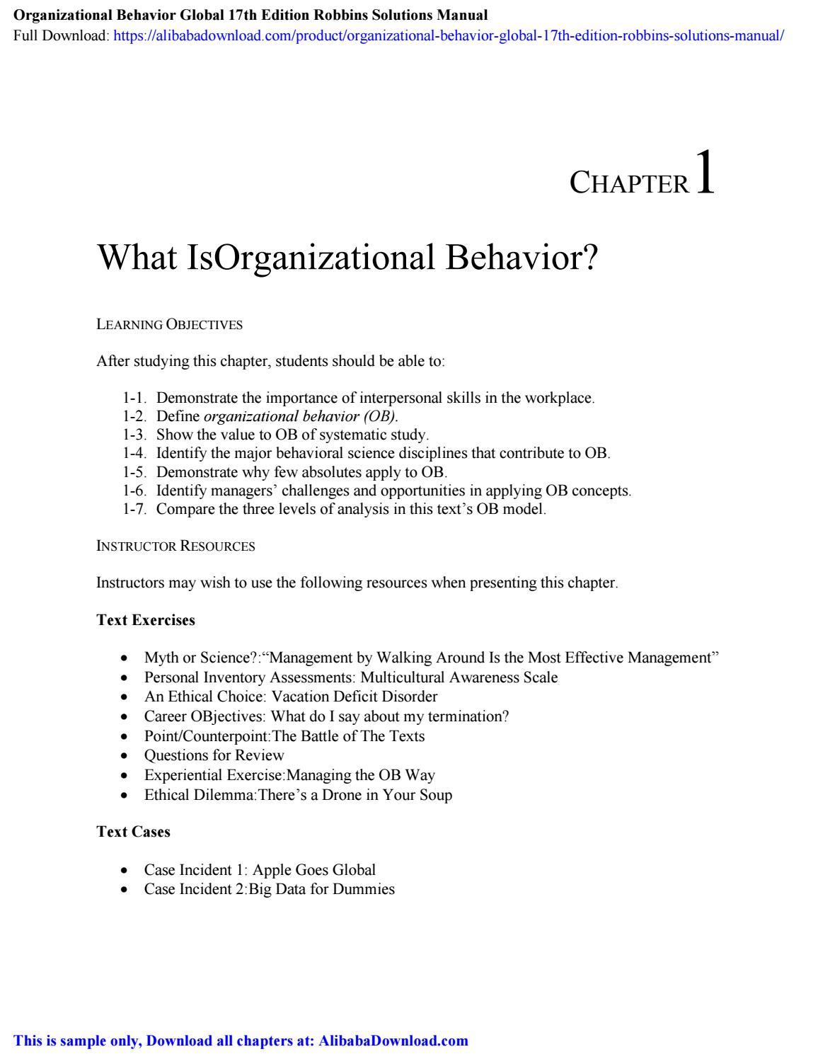 Organizational Behavior Global 17th Edition Robbins