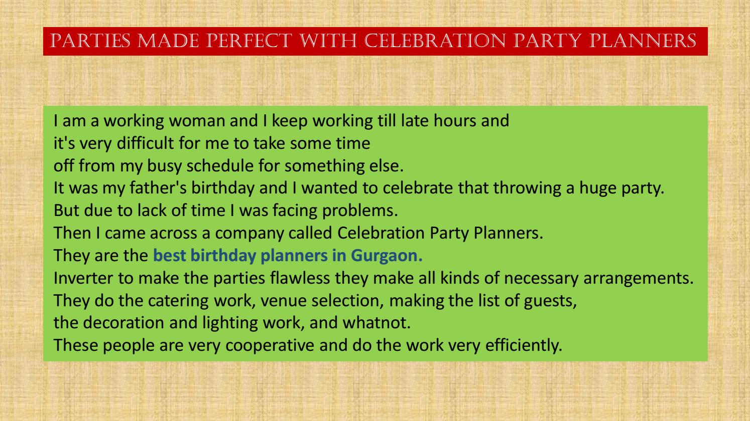 Parties made perfect with Celebration Party Planners