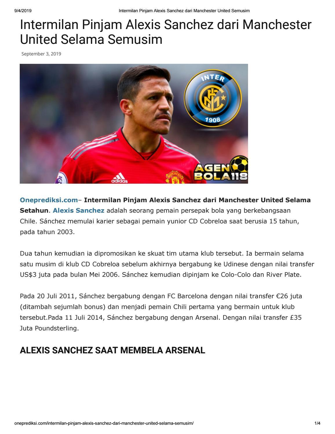 Intermilan Pinjam Alexis Sanchez Dari Manchester United