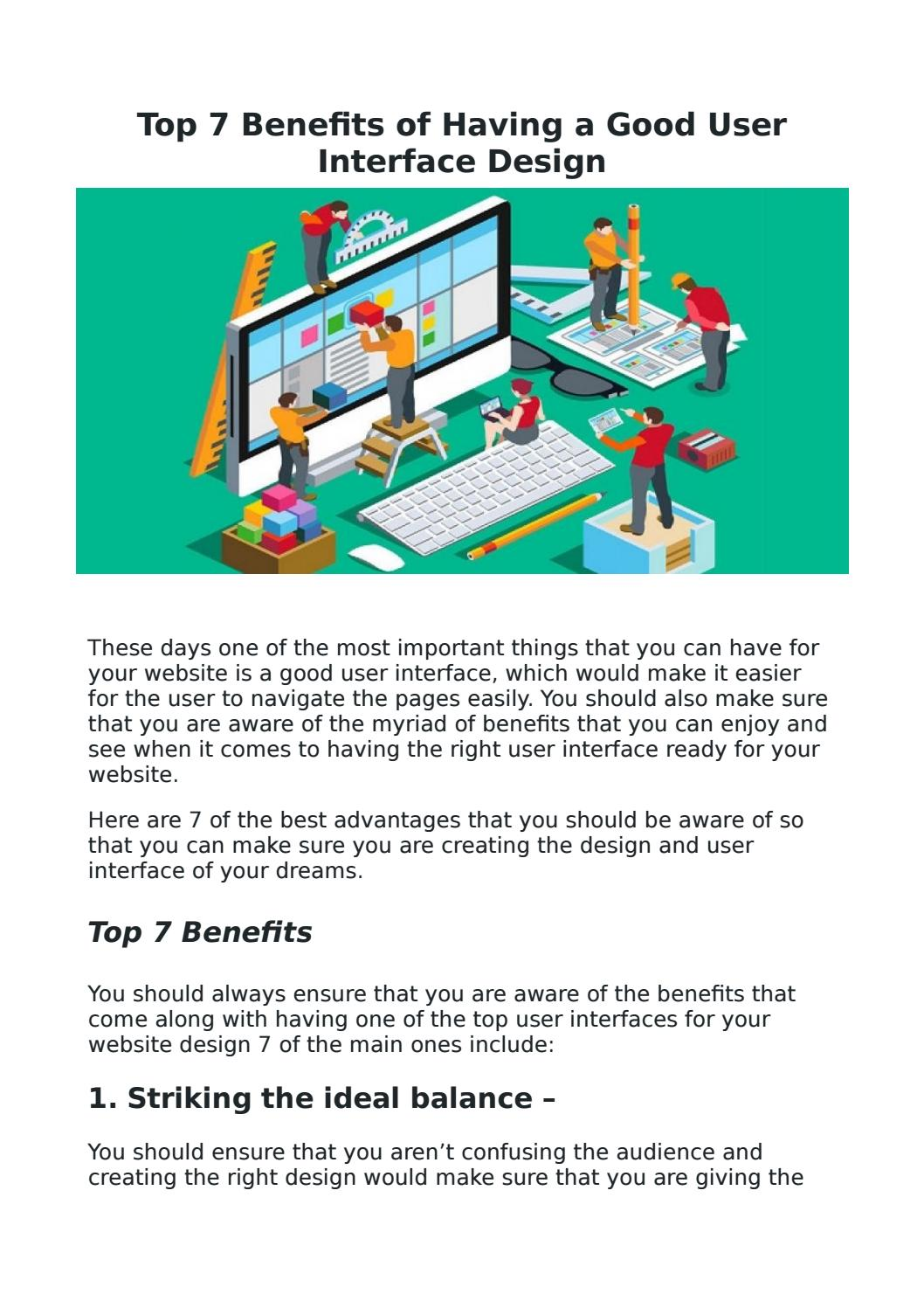 Top 7 Benefits Of Having A Good User Interface Design By Ez Rankings Issuu