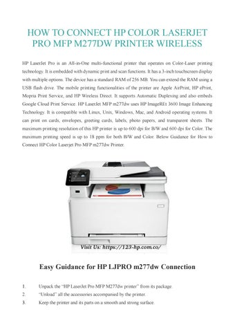 How To Connect Hp Color Laserjet Pro Mfp M277dw Printer Wireless Setup By Sandra Carol Issuu