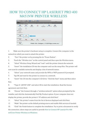 How To Connect Hp Laserjet Pro 400 M451nw Wireless Setup Guidance By Sandra Carol Issuu