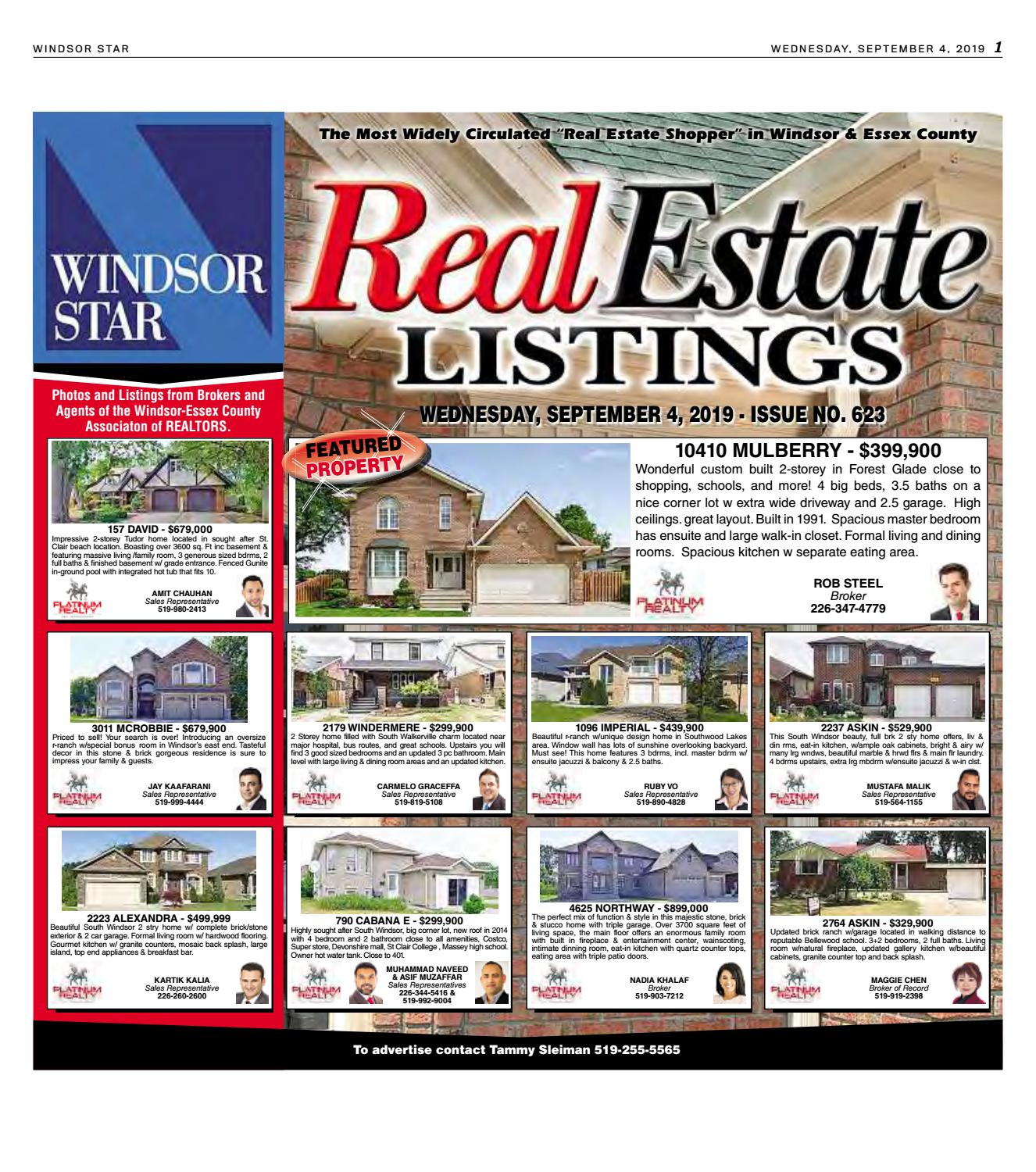 Real Estate Listings - Windsor Star - Sept  4, 2109 by The
