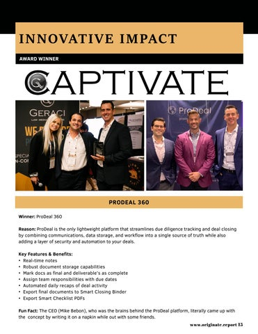 Page 15 of Industry Spotlight: 2019 Captivate Award Winners