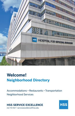 HSS Neighborhood Directory by Hospital for Special Surgery