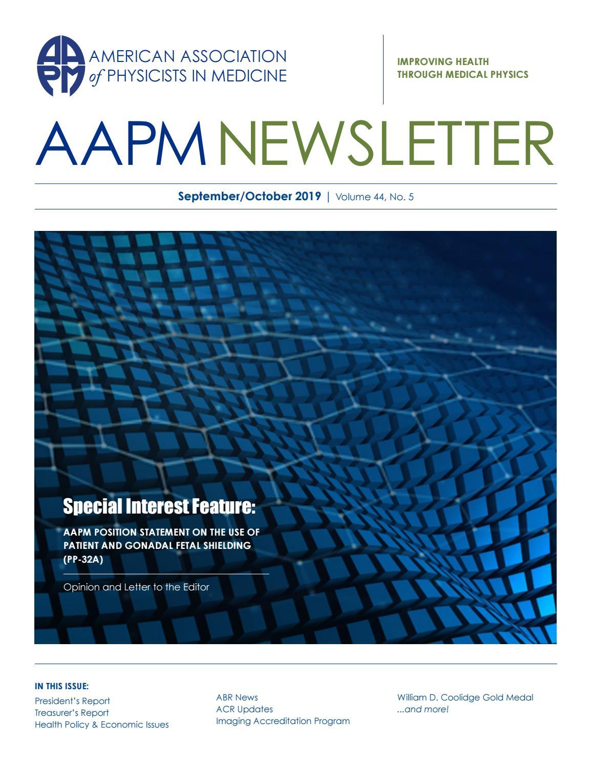 AAPM Newsletter September/October 2019 Vol  44 No  5 by