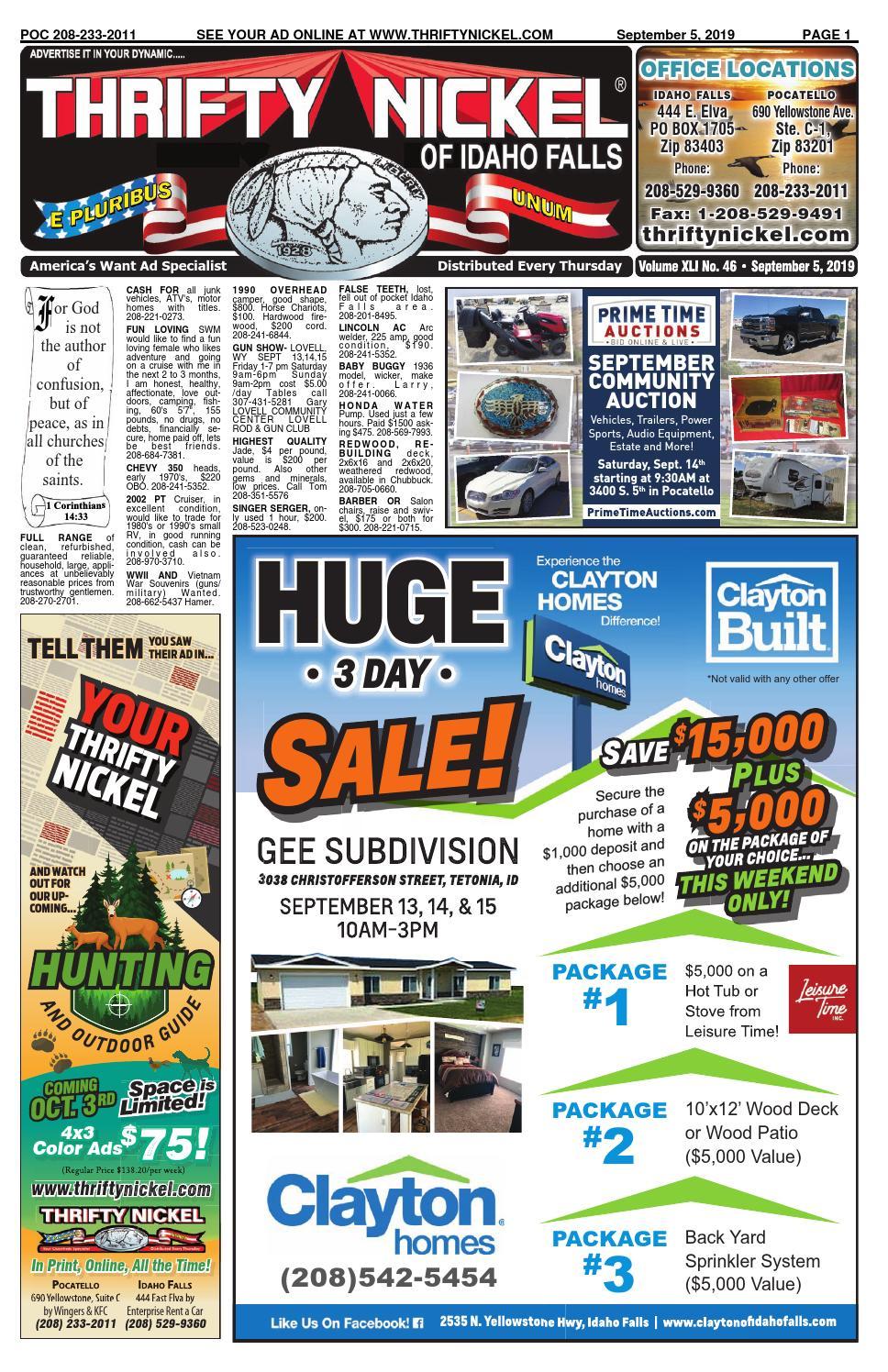 Thrifty Nickel Of Idaho Falls 09 05 19 By Thriftynickelif
