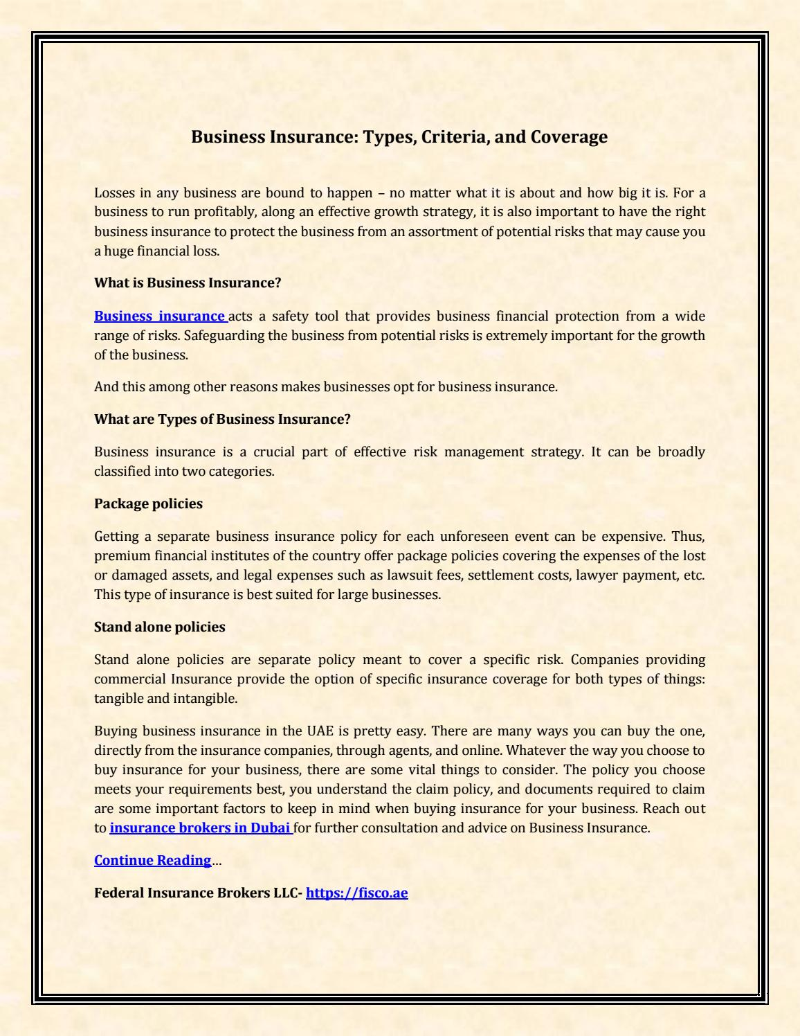 Business Insurance Types Criteria And Coverage By Federal Insurance Brokers Llc Issuu