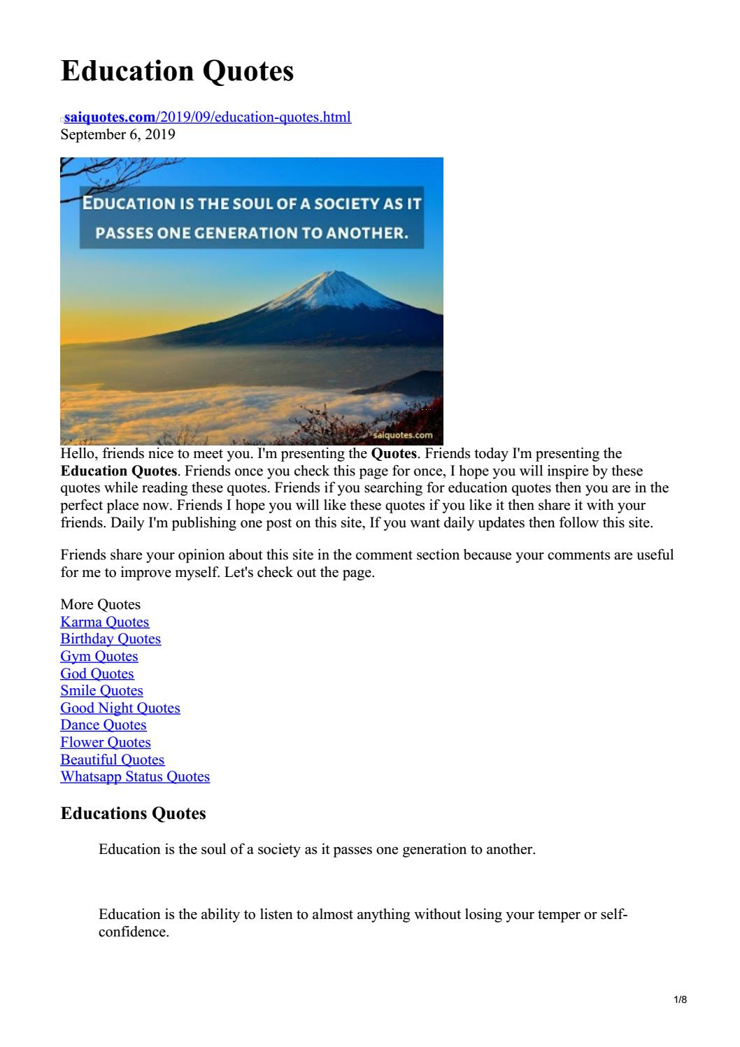 Education Quotes By Saiquotes Issuu