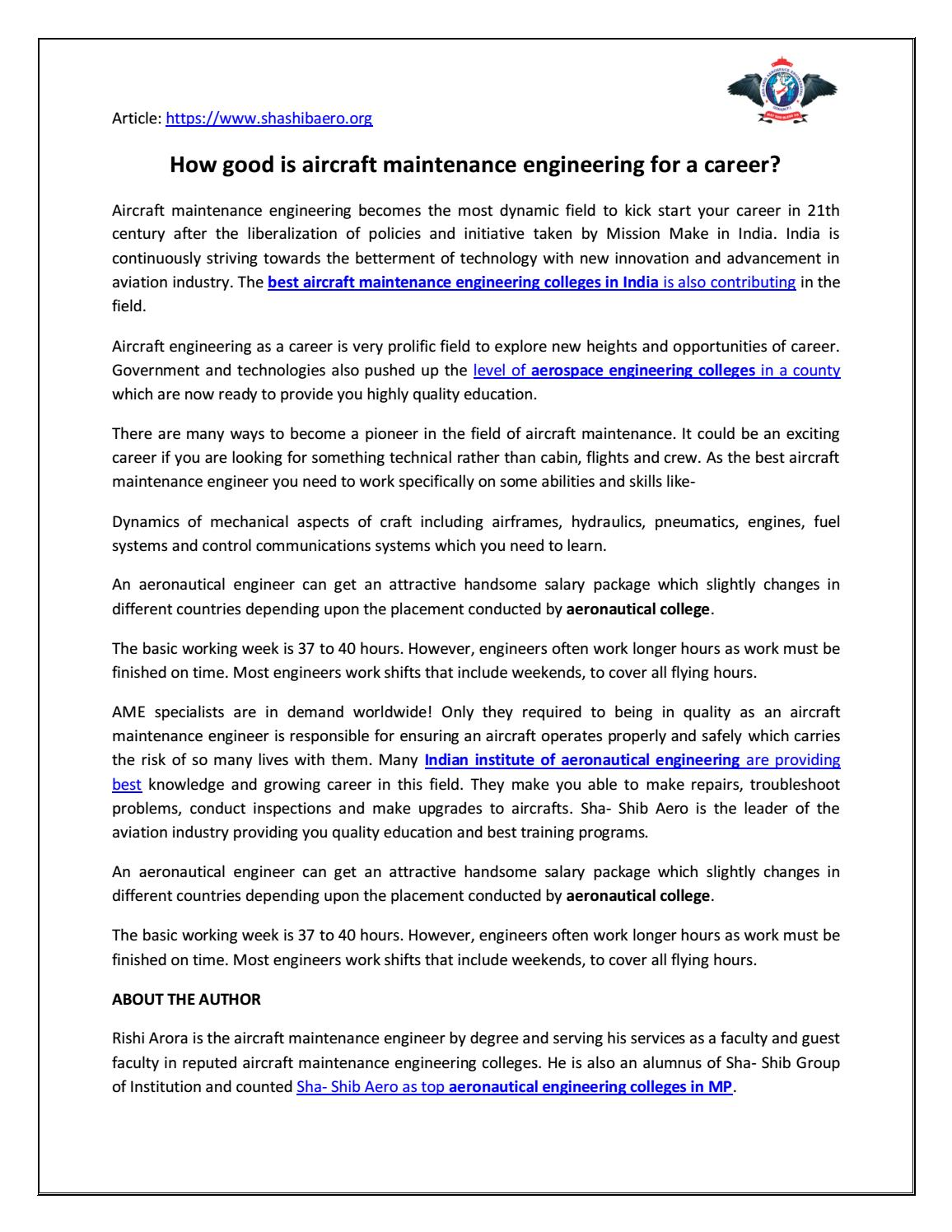 How Good Is Aircraft Maintenance Engineering For A Career By Sha Shib Aerospace Engineering Issuu