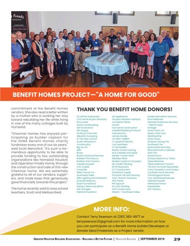 Page 29 of Chesmar Homes Vendors and Trades Donate to Benefit Home construction
