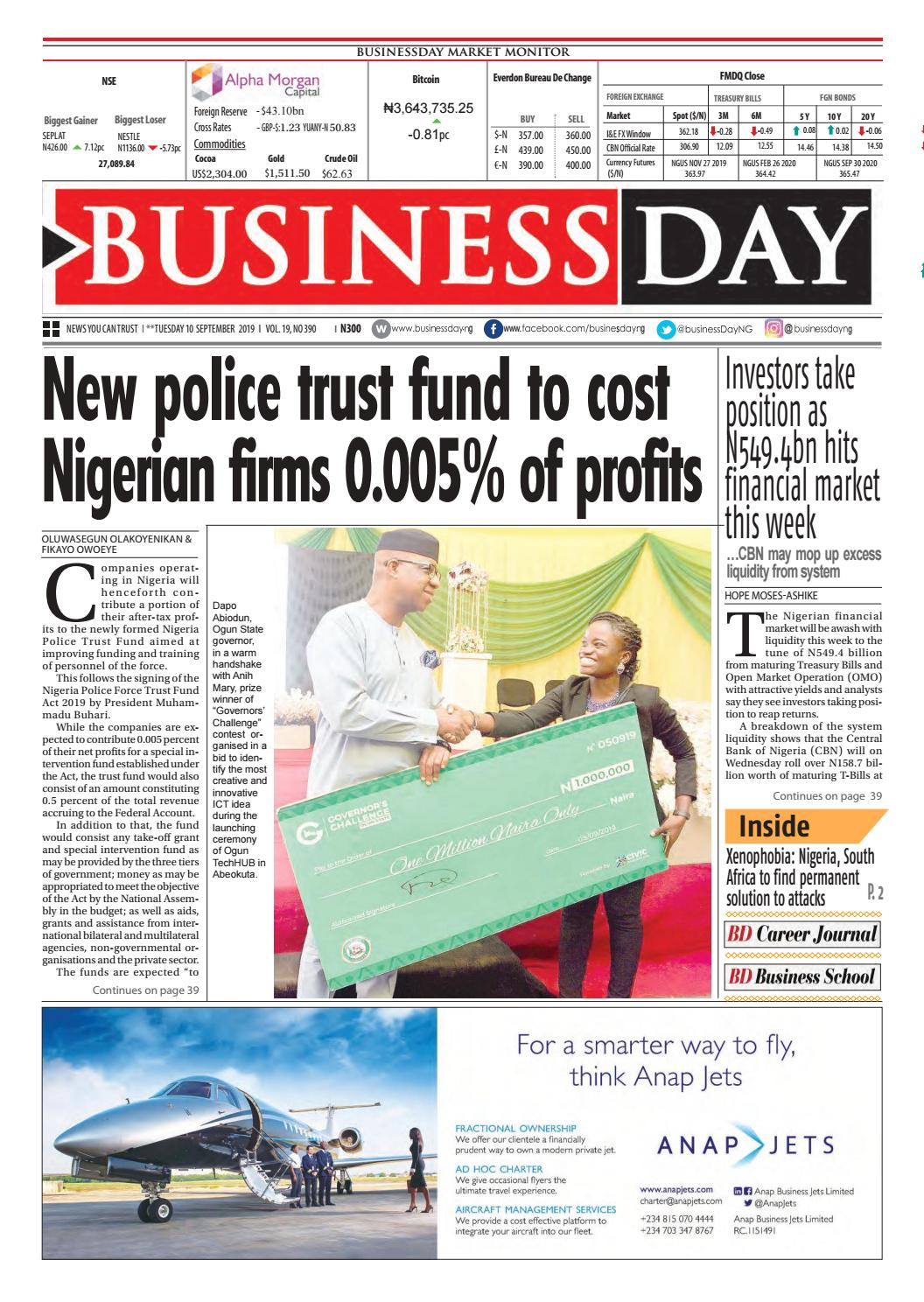 Businessday 10 Sep 2019 By Businessday Issuu