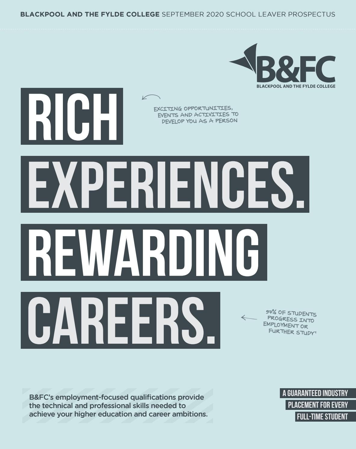 B Fc Further Education Prospectus 2019 Rich Experience Rewarding Careers By Blackpool And The Fylde College Issuu