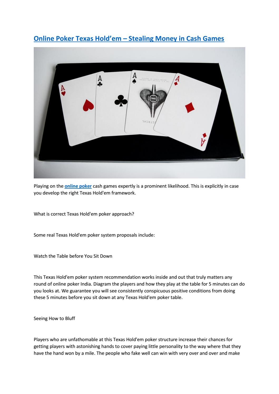 Online Poker Texas Hold Em Stealing Money In Cash Games By Pokerlion Issuu