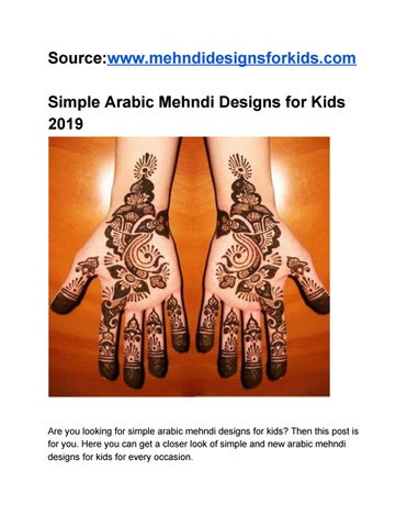 Simple Arabic Mehndi Designs For Kids By Only For Kids Issuu