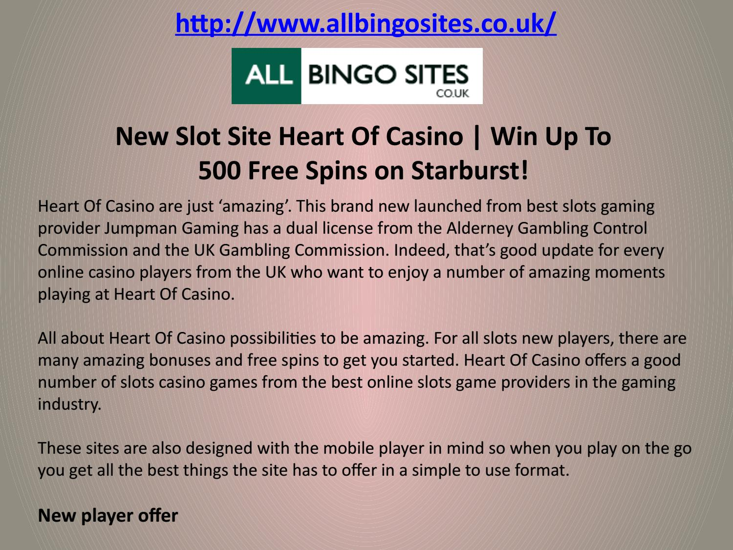 New Slot Site Heart Of Casino Win Up To 500 Free Spins On