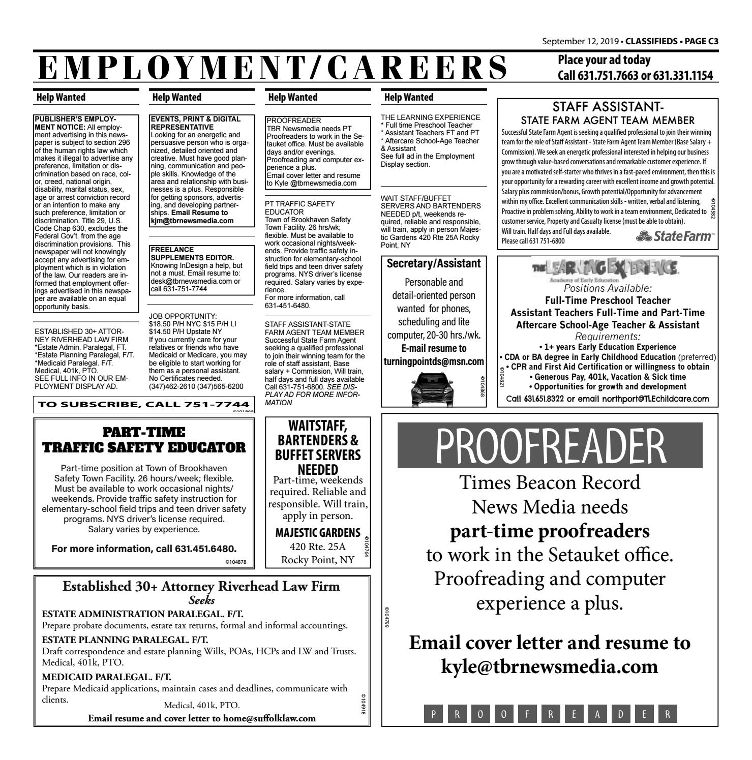 Employment/Careers - September 12, 2019 by TBR News Media ...