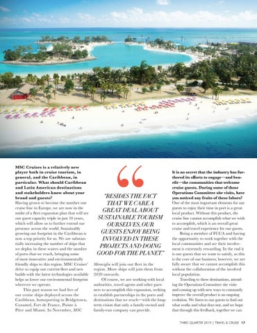 Page 19 of Sustainable Growth and Mutual Success: MSC Cruises VP and FCCA Operations Committee Chair Shares Their Commitment to the Caribbean