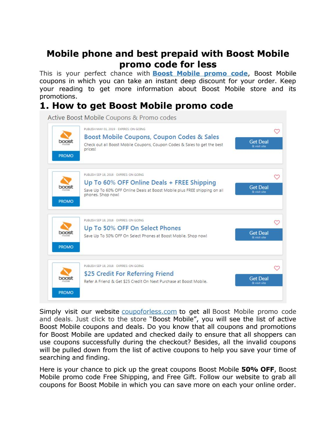 Mobile phone and best prepaid with Boost Mobile promo code