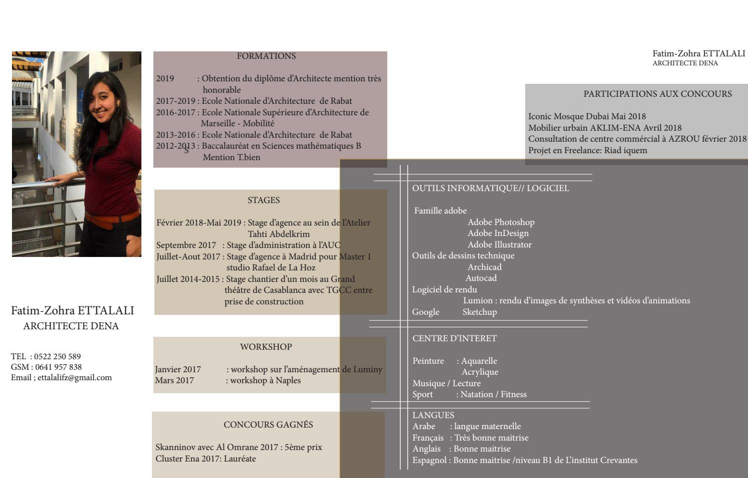 Curriculum Vitae De Fatim Zohra Ettalali By Ettalali Fatim