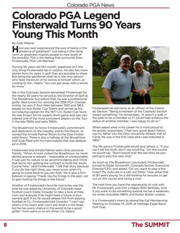 Page 8 of Colorado PGA Legend Finsterwald Turns 90 Years Young This Month