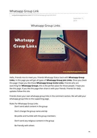 Whatsapp Group Links By Whatsappstatus Issuu