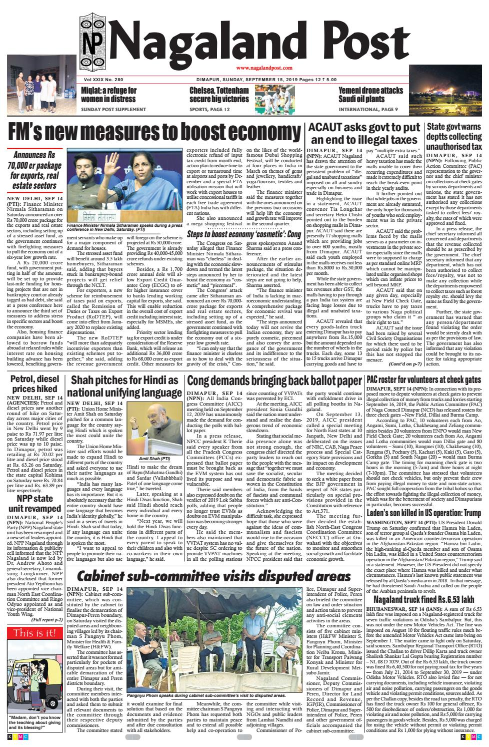September 15, 2019 by Nagaland Post - issuu