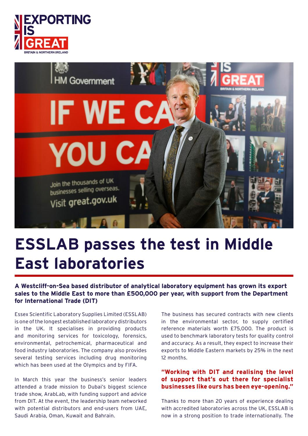 DIT Exporting Success Story: ESSLAB by Department for