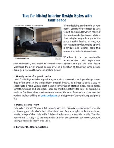 Tips For Mixing Interior Design Styles With Confidence By Elnaznamakistudio Issuu