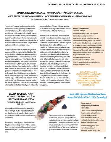 Page 23 of Näytteilleasettajat Hengen ja Tiedon messuilla 2019