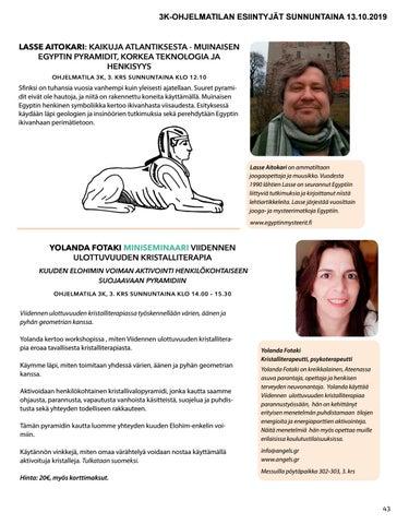 """Page 43 of Yolanda Fotaki: miniseminaari """"Viidennen ulottuvuuden kristalliterapia"""""""
